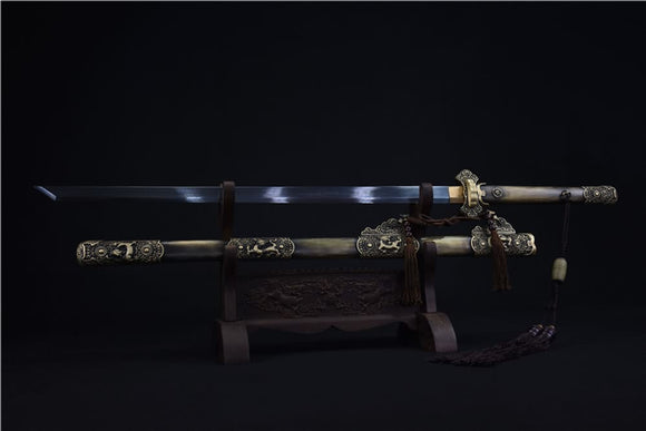 Tang dao sword(Damascus steel blade,Brass scabbard)Full tang - Chinese sword shop
