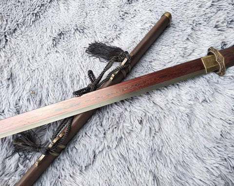 Tang dao,Martial arts,Damascus Steel blade,Rosewood,Alloy,Full tang