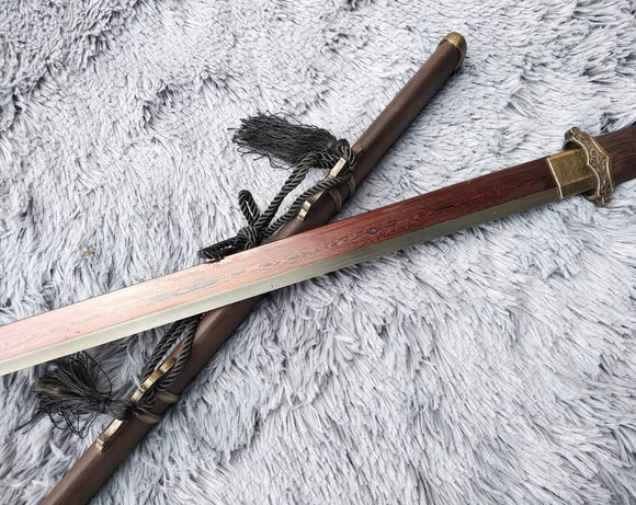 Tang dao,Martial arts,Damascus Steel blade,Rosewood,Alloy,Full tang - Chinese sword shop