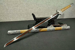 "Tang jian(Damascus steel red blade,Rosewood scabbard,Alloy fitted)Length 41"" - Chinese sword shop"
