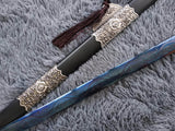 Tang sword,Hand Forged(High manganese steel blue blade,Black wood,Alloy)Full tang