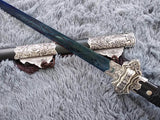 Tang sword,Hand Forged(High manganese steel blue blade,Black wood,Alloy)Full tang - Chinese sword shop