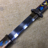 Tang dao,Hand forged,High carbon steel burn blade,Brass scabbard