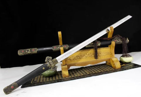 Tang dao sword,High carbon steel etch blade,Black wood scabbard