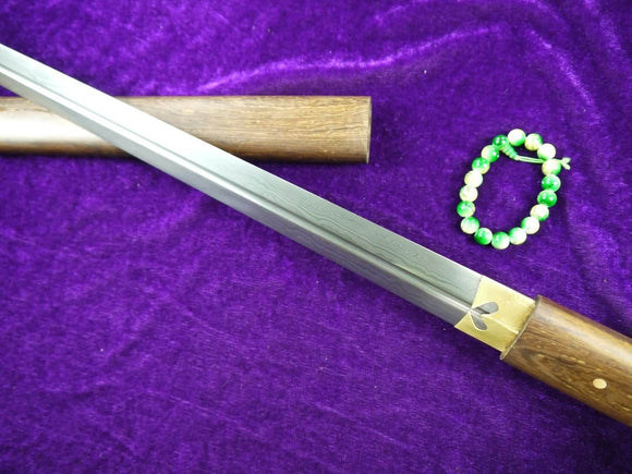 Tang sword(Damascus steel blade,Rosewood scabbard)Full tang - Chinese sword shop