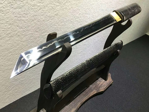 Tanto sword,High carbon steel burn blade,Black skin scabbard