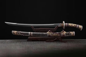 Loong broadsword,Damascus steel blade,Black skin scabbard,Brass fittings - Chinese sword shop