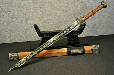 Han jian(High manganese steel etch blade,Rosewood scabbard,Brass fittings)Length 31""
