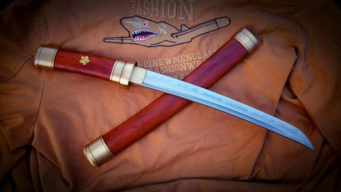 Katana,Damascus steel turn blade,Brass,Redwood scabbard - Chinese sword shop