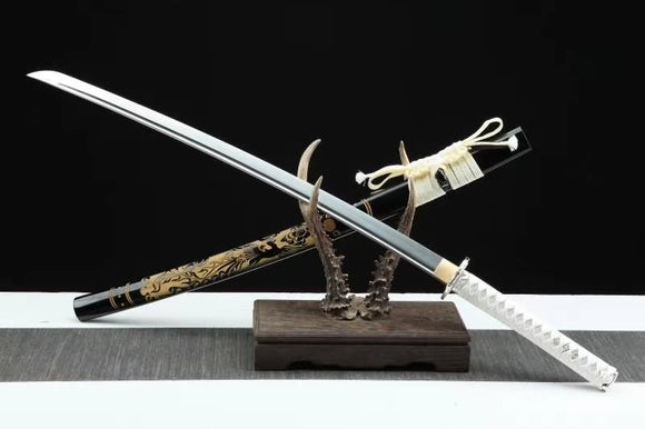 Samurai Sword Katana Full Tang Forged high Carbon Steel Blade Carved Wooden Scabbard