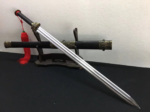 Fengyun sword,High carbon steel blade,Black scabbard,Alloy fittings