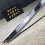 Tang dao,Folded steel blade,Black wood scabbard,Brass fittings