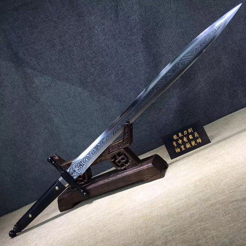 Knight's sword,High carbon steel,Leather scabbard,Full tang