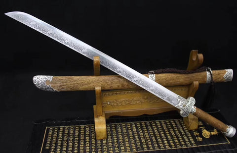 Broadsword(High carbon steel etch blade,Rosewood,Alloy)Hand Forged&Handmade art - Chinese sword shop