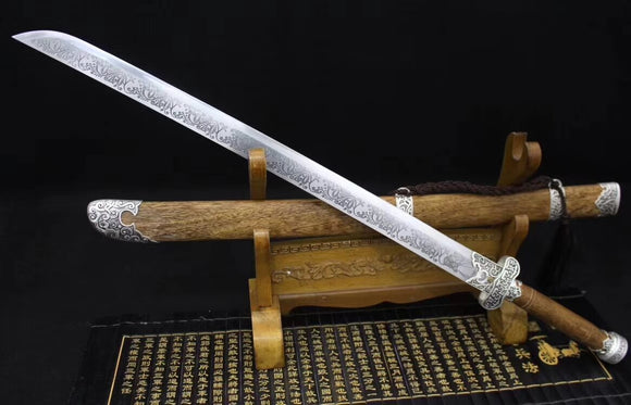 Broadsword(High carbon steel etch blade,Rosewood,Alloy)Hand Forged - Chinese sword shop
