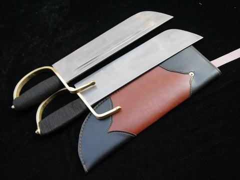 Wing Chun butterfly knife(Folding steel blade,Brown Leather scabbard,Copper handle)