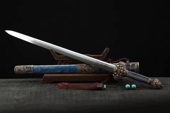 Yongle sword,Damascus steel blade,Blue skin scabbard,Brass - Chinese sword shop