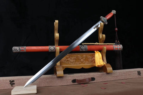 Yongle sword,Handmade High carbon steel blade,Redwood,Brass fittings