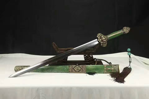 Chinese sword,Yongle jian(Folded steel blade,Green skin scabbard,Copper fitted)Overall Length 38""