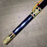 Yongle jian sword,High carbon steel blade,Black wood,Alloy - Chinese sword shop