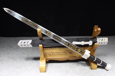 Ruyi sword,High manganese steel etch blade,Black scabbard,Alloy fitting - Chinese sword shop