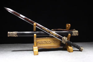 Yuewang sword,Damascus steel octahedral blade,Black wood,Brass fittings - Chinese sword shop
