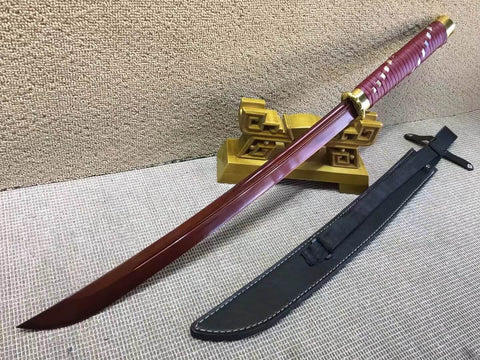 Horse chopping sword,High carbon steel red blade,Leather scabbard