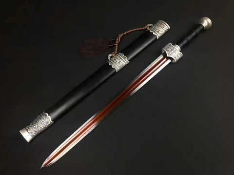 Zhaoyun jian,High manganese steel blade,Black scabbard,Alloy fittings