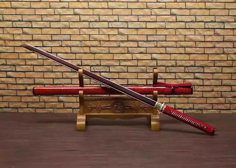 Katana,Ninja Sword,Folded steel red blade,Wood scabbard,Alloy fitting,Full tang,Length 39 inch