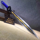 Cosplay sword,High carbon steel blue blade,PU scabbard
