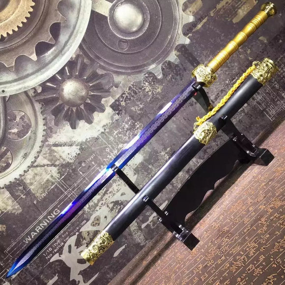 Supreme sword,High manganese steel blue blade,Black scabbard,Alloy fittings - Chinese sword shop