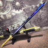 Supreme sword,High manganese steel blue blade,Black scabbard,Alloy fittings