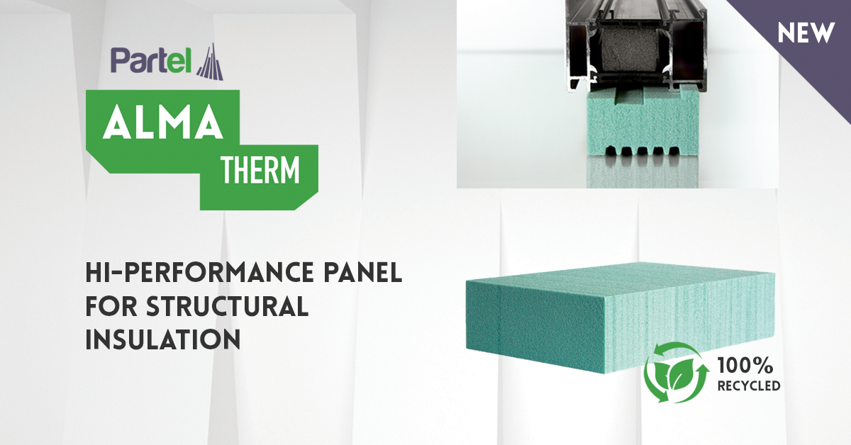 ALMA THERM – Partel launches a 100% recycled panel  for structural insulation