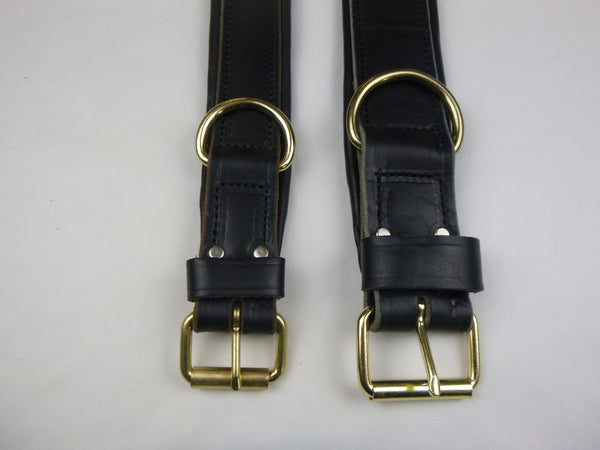 "1.5"" Padded Leather Collar (on left) and 2"" Padded Leather Collar (on right)"