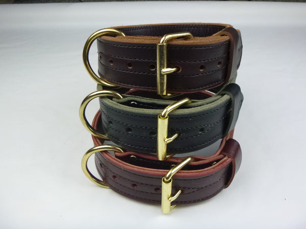 "2"" Double Layer Collar in Brown, Black and Burgundy"