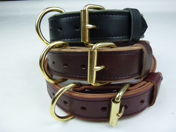"1.5"" Double Layer collar in Black, Brown and Burgundy"