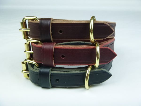 "1"" Standard Leather Collar available in Brown, Burgundy, and Black (Top to Bottom)"