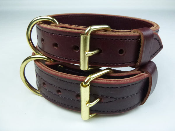 "1.5"" Double Layer Collar (Top) and 2"" Double Layer Collar (Bottom) pictured in Burgundy"