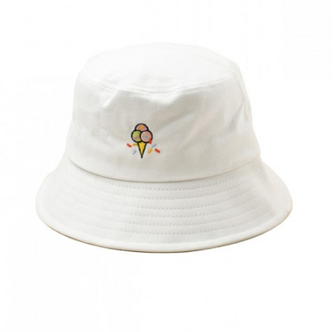 Embroidered Ice Cream Cone Bucket Hat