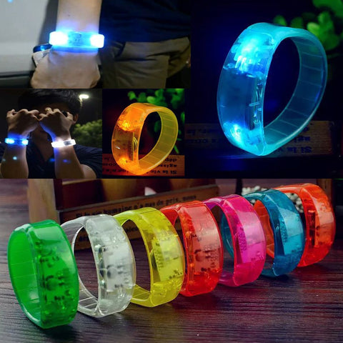 Party Rave Concert Voice Control LED glow Bracelet Bangle Sound Activated