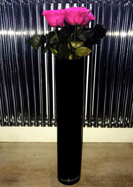 Tall Black Glass Vase
