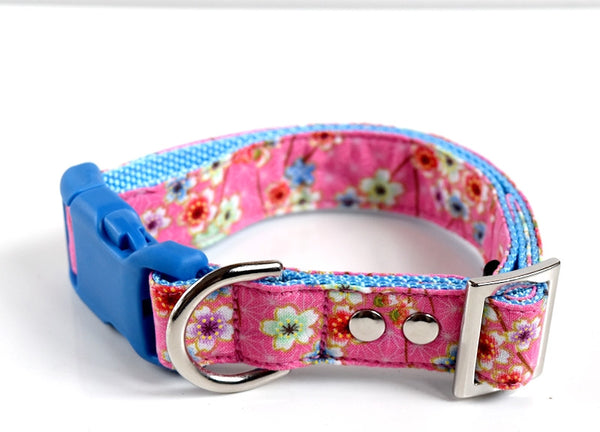 Pink/Blue Sakura Cherry Blossom Hemp Leaves Dog Collar - pink, green - Blue Buckle
