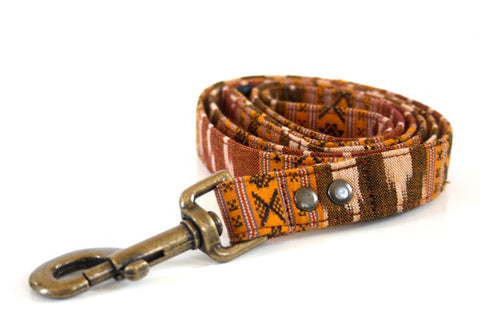 BOHO woven Dog Leash - mustard, brown- Antique Brass