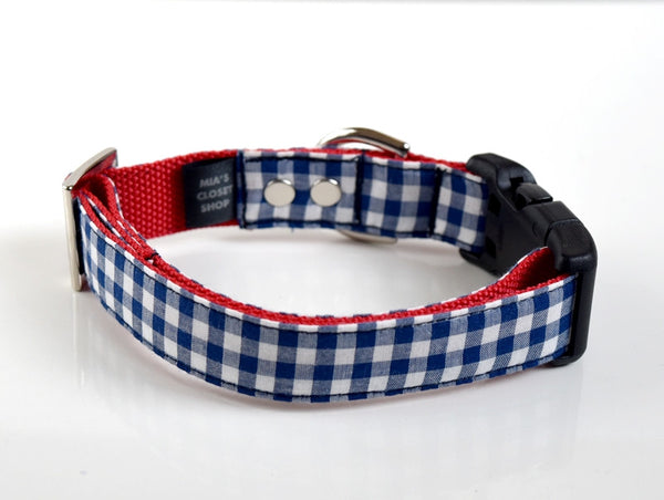 Gingham Dog Collar - Navy, Blue