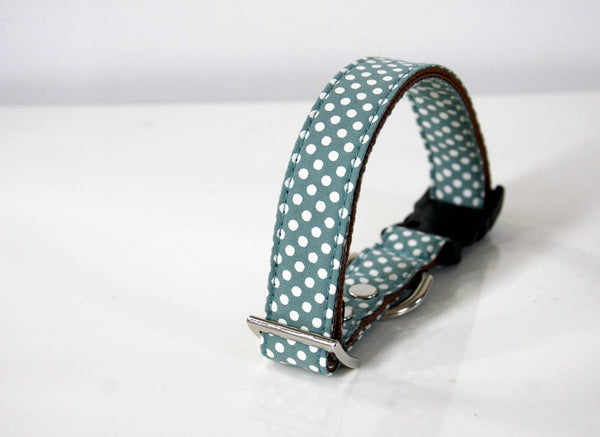 Celadon Green Polka Dot Dog Collar - silver