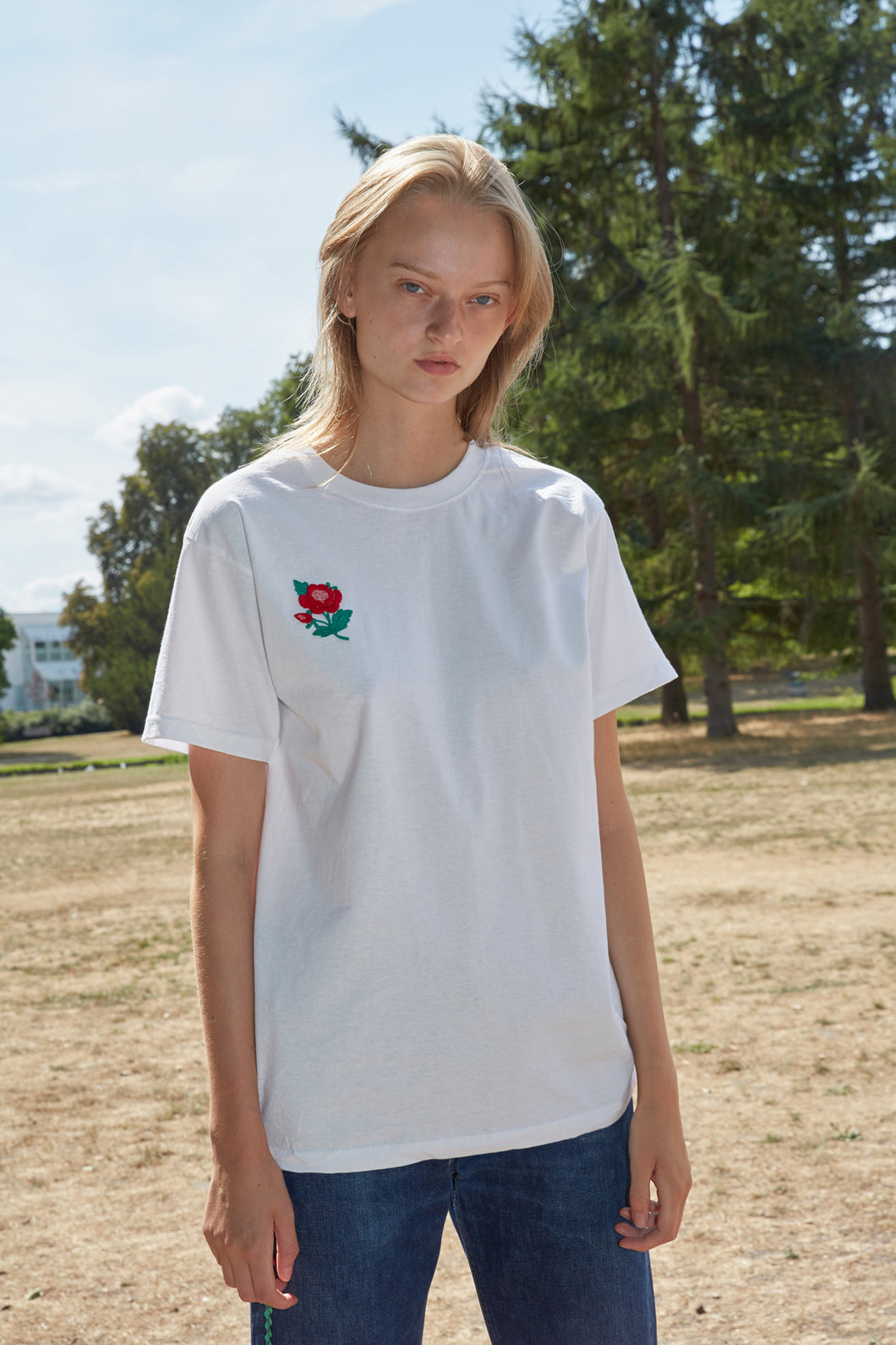 Embroidered Red Flower Patch White T-Shirt