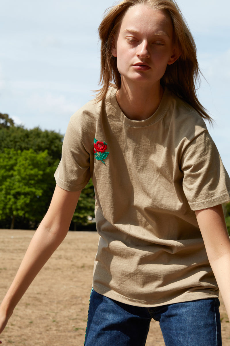 Embroidered Flower Patch Beige T-Shirt