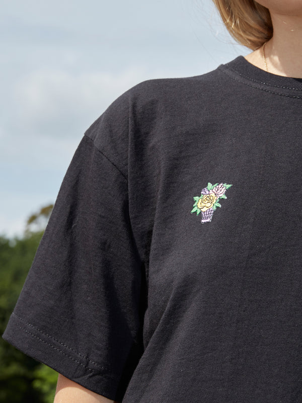 Embroidered Pink Flower Bouquet Patch Black T-Shirt