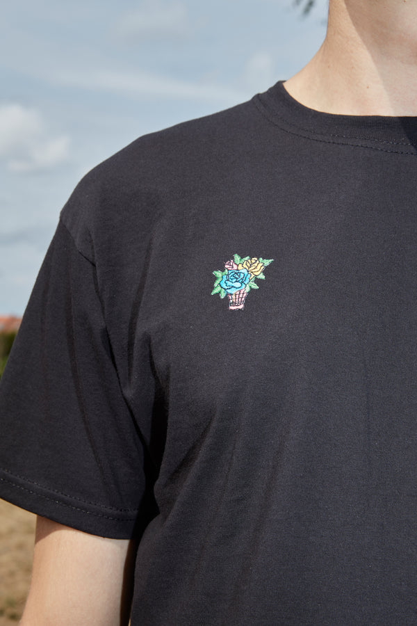 Embroidered Turquoise Flower Bouquet Patch Black T-Shirt