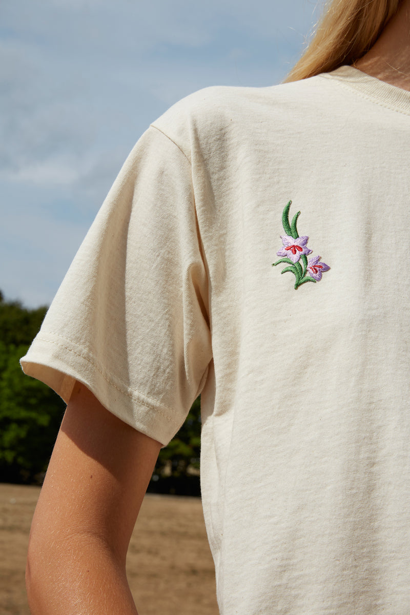 Embroidered Flower Leaf Patch Nude T-Shirt